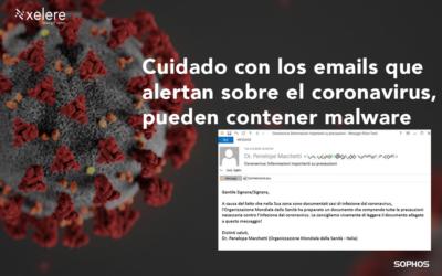 Los emails que alertan sobre el coronavirus, pueden contener malware.